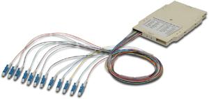 LWL Spleisskassette 12x LC OM4,MM, 50/125µ, gefärbte Pigtails