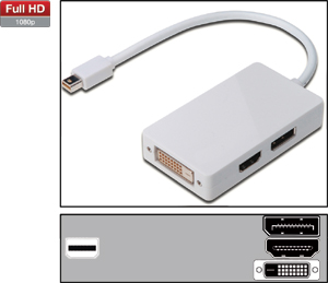 Mini DisplayPortHDMI/DP/DVI,AWG32, 3in1 Adapter, weiß