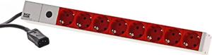 Steckdosenl. 8 fach ALU 1U,19 Alum.Rot, C14 Stecker