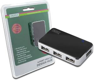 USB Hub  4PORT USB 2.0,Schwarz/Silber, Hot-Swap