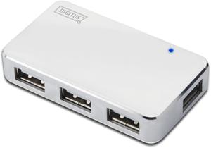 USB Hub  4PORT USB 2.0,Weiß/Silber, Hot-Swap