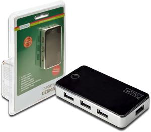 USB Hub  7PORT USB 2.0 Black,Inkl.5V/3,5A Netzt.,Black/Silv