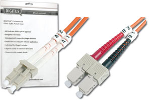 DIGITUS LWL Patchkabel LC/SC 50/125 3m Multimode Duplex Halogenfrei bis 1Gbit mit Messprotokoll orange OM2