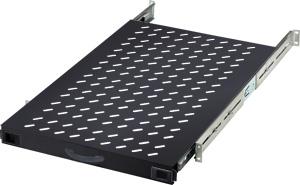 Fachboden 1HE T  720mm Schwarz,1HE, max.65kg, ausziehbar