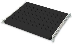 Fachboden 1HE T  385mm Schwarz,1HE T 385mm max.25Kg ausziehb.