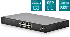Switch 16x1GBIT 2xSFP Managed,2x1GBIT SFP Port inkl.19 Kit