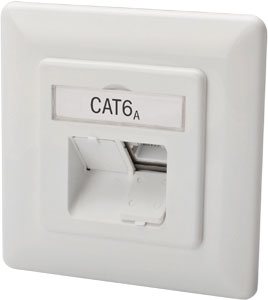 CAT.6a Datendose,2xRJ45,UP,Reinweiß, STP, horizontal