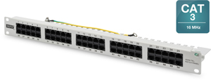 ISDN Patchpanel, 50xRJ45,19 1HE, RAL7035, UTP 3-6, 4-5