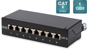 CAT.6  Patchpanel,  8xRJ45 STP,Desktop, RAL9005, 1GBit