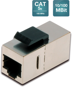 Modular coupler 1-1 RJ45 Cat5e,1xRJ45 to1x RJ45 shielded