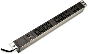 Kaltgerätedosenleiste 10fach,Überlastschutz, 10x IEC C13