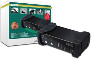 KVM SWITCH 2 Port USB DVIAudio,Inkl. USB2.0 HUB