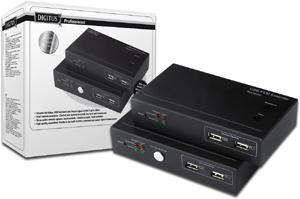 DIGITUS KVM Extender USB 200m ueber Cat5 1280x1024 bei 60Hz 1 Sende + 1 Empfangseinheit inkl. Netzteil