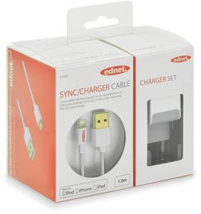 iPod Batterieladeset 5V 2.1A,USB Ladeadapter & iP5 Kabel 1m