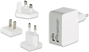 USB Travel Charger, 2x USB,5V/2,5A, 3 Stecker, weiß