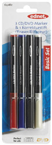 CD/DVD Marker 4er Pack,3 Marker und 1 Löschstift