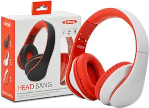 EDNET HEAD BANG Kopfhoerer weiss/rot mit Inline-Mikrofon