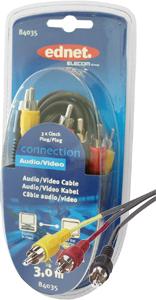 Cinch Kabel   3xST 3xST  3m,3xCin.Stecker-3xCin.Stecker