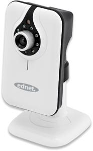 EDNET kabellose IP-Kamera CUBE MJPEG internes Mikro + Lautsprecher IR LED 0,68 Lux 10/100Base-TX Ethernet