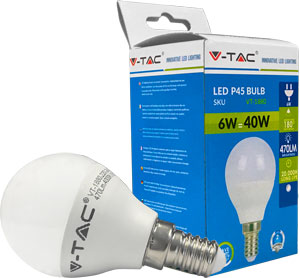 LED Bulblight E14 6W Warmweiß,SKU 4250, 470lm, 180°
