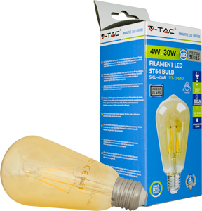 LED Bulblight E27  4W Warmweiß,300lm, 300°, Retro, Dimmbar