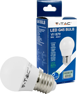 LED Bulblight E27  6W Kaltweiß,470lm, 180°, G45, 45x75mm