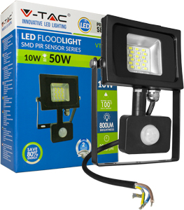 LED Fluter 10W Neutralw. IP44,SKU 5724, Bewegungsm., Schwarz