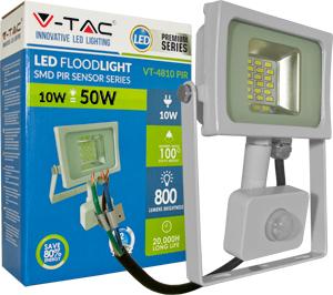 LED Fluter 10W Warmweiß IP44,Bewegungsmelder, Weiß