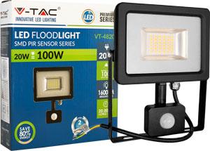 LED Fluter 20W Kaltweiß IP44,Beweg.melder, schwarz/silber