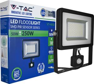 LED Fluter 50W Warmweiß IP44,Beweg.melder, schwarz