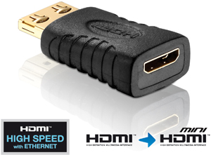 Adapter HDMI A ST- Mini C BU,Goldkontakte, schwarz