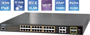 PoE Switch 24x10/100/1000,4x1000Mb SFP Ports, 220Watt