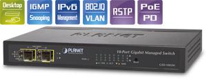 Planet Managed Desktop Switch 8-Port 10/100/1000Mbps + 2-Port 100/1000X SFP Port 8 unterstützt PoE In